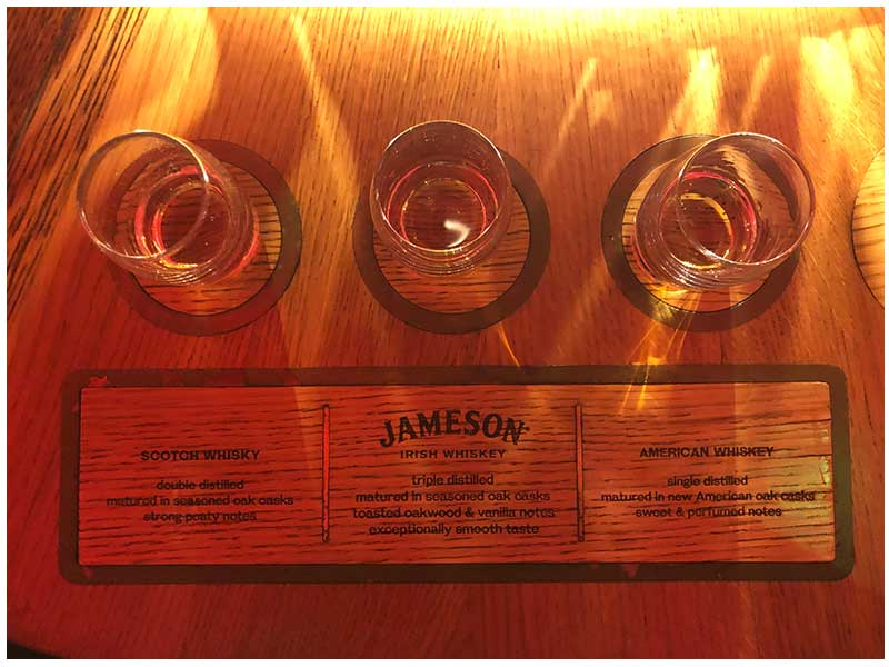 Samples of Whisky from the Jameson Distillery