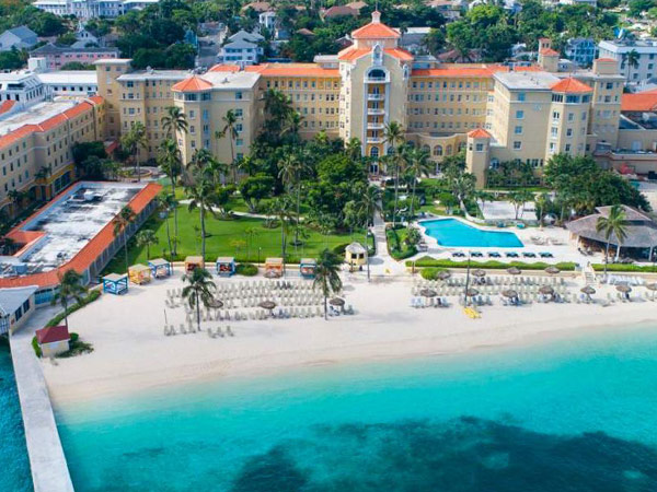 Hotel exterior and private tropical beach, British Colonial Hilton Nassau, Bahamas