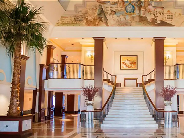 Lobby with palm trees, British Colonial Hilton Nassau, Bahamas