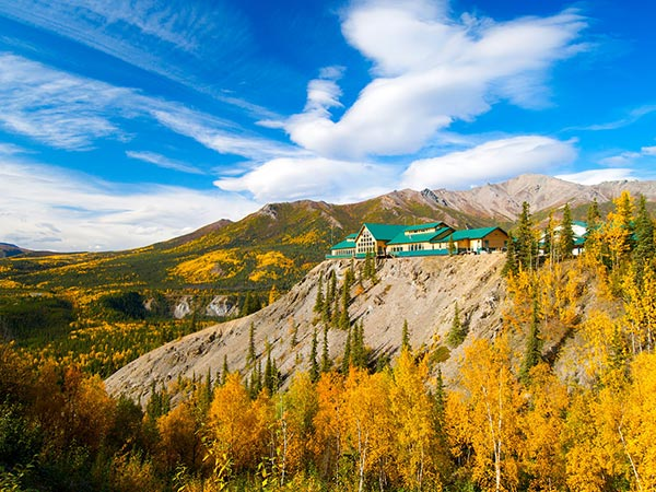 Stunning mountain landscape exterior view of the Grande Denali hotel