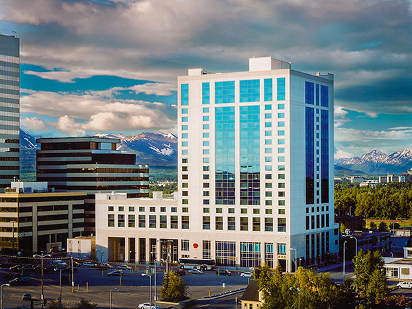 Exterior view of the Marriott Anchorage hotel