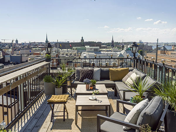 View of Stockholm from the roof deck at the Radisson Strand hotel.