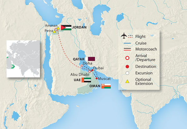 Arabian adventure in dubai abu dhabi oman qatar 14 days land view journey map gumiabroncs Gallery