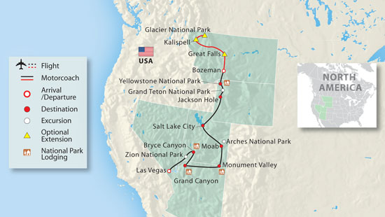 See The Full Itinerary For This National Parks Vacation - Map of us national parks and monuments
