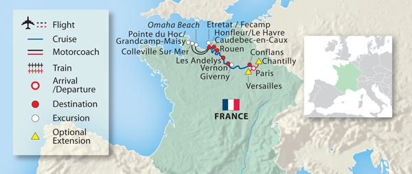 Map Of France Giverny.Paris To Normandy Europe River Cruise 2019 Vantage Travel