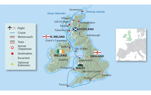 Map Of England Holyhead.The Beauty Of The British Isles Ocean Explorer Small Ship Cruise