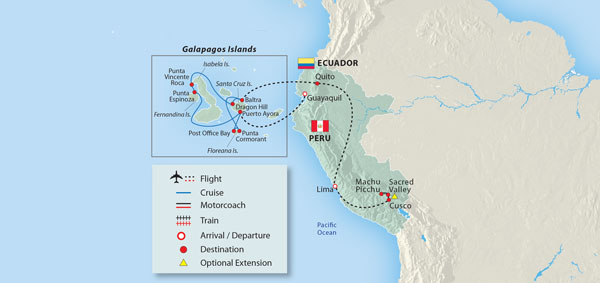Galapagos On World Map.See The Daily Itinerary For This 2018 Machu Picchu Galapagos