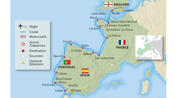 Map Of Portugal Spain France.Coastal Treasures Of France Spain Portugal 17 Days Small Ship