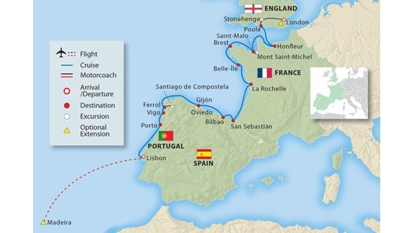 Map Of England France And Spain.Coastal Treasures Of France Spain Portugal 17 Days Small Ship
