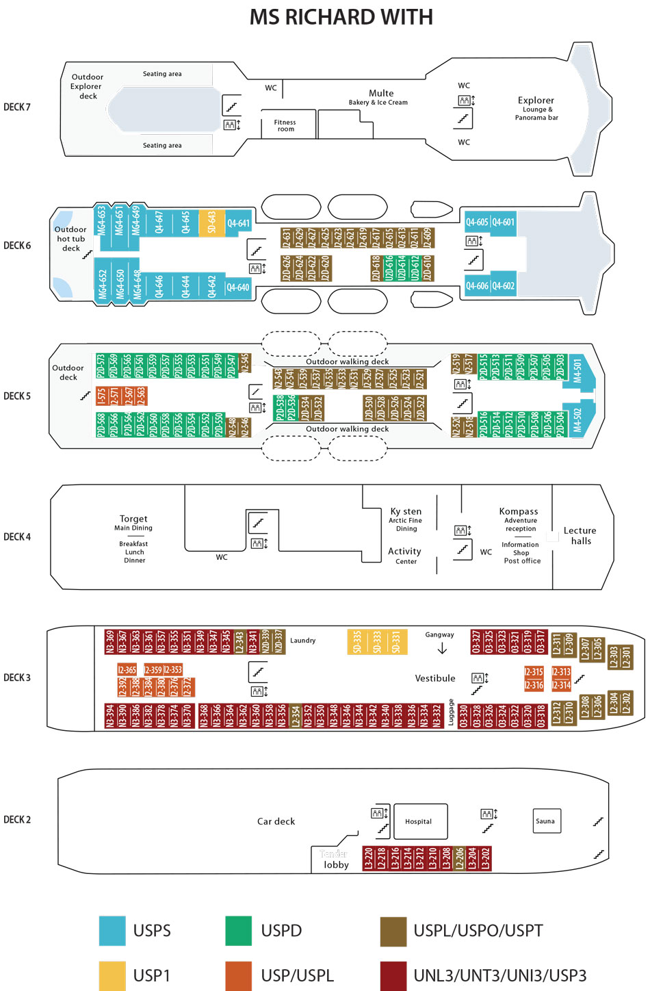 Deck plan for the m/s Richard With, a Vantage European River Cruise ship.