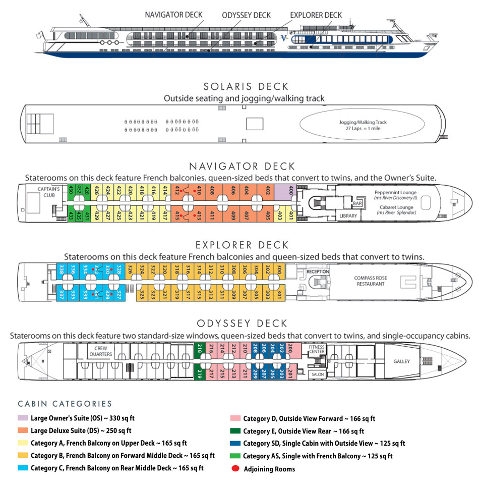 Deck plan for the m/s River Splendor and Discovery