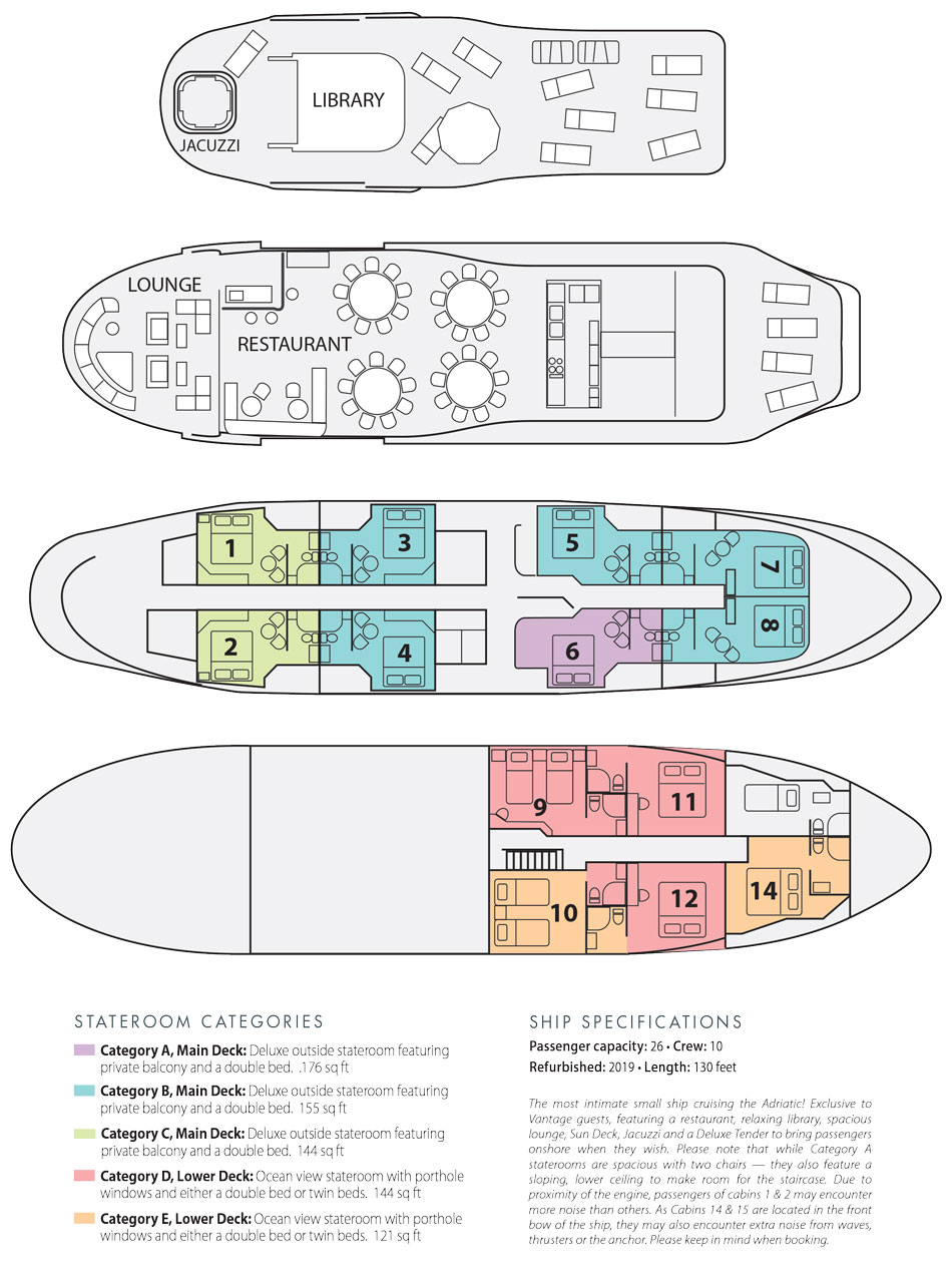 see the ships u0026 deck plans for this 2017 croatia adventure
